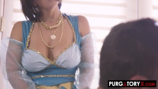 Busty Horny MILF Babes Threesome Sharing Cock