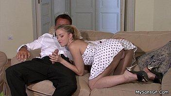 Hot Blonde Pussy Rides Boyfriends Dads Cock