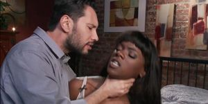 Strapped Ebony Interracial Fucked