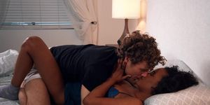 Interracial Threesome Fuck On Mattress